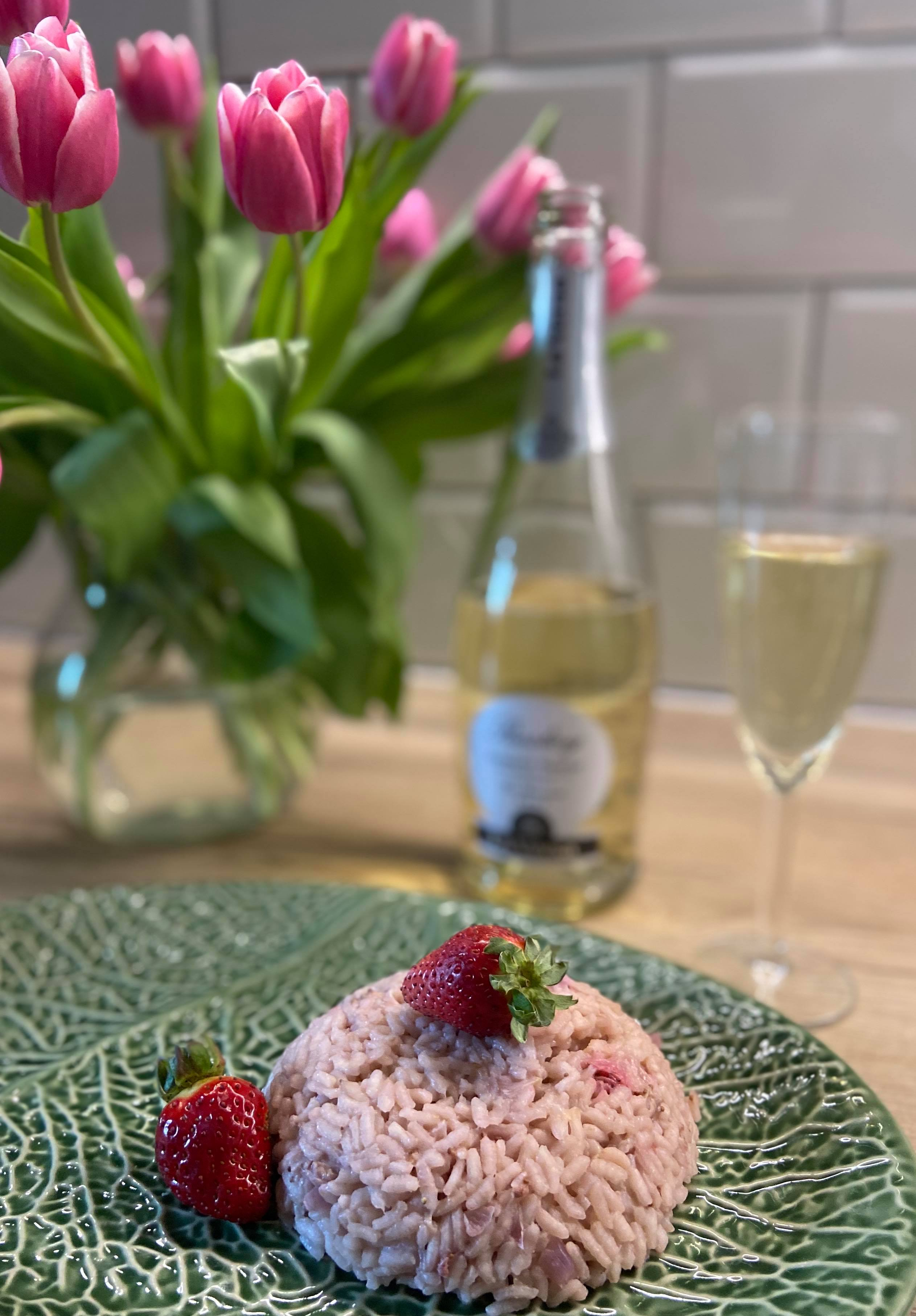 risotto z truskawkami i szampanem